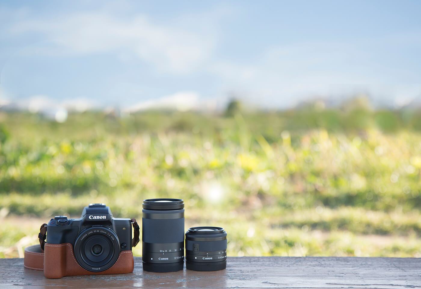 Image of camera and lenses outdoors taken with an EOS M50