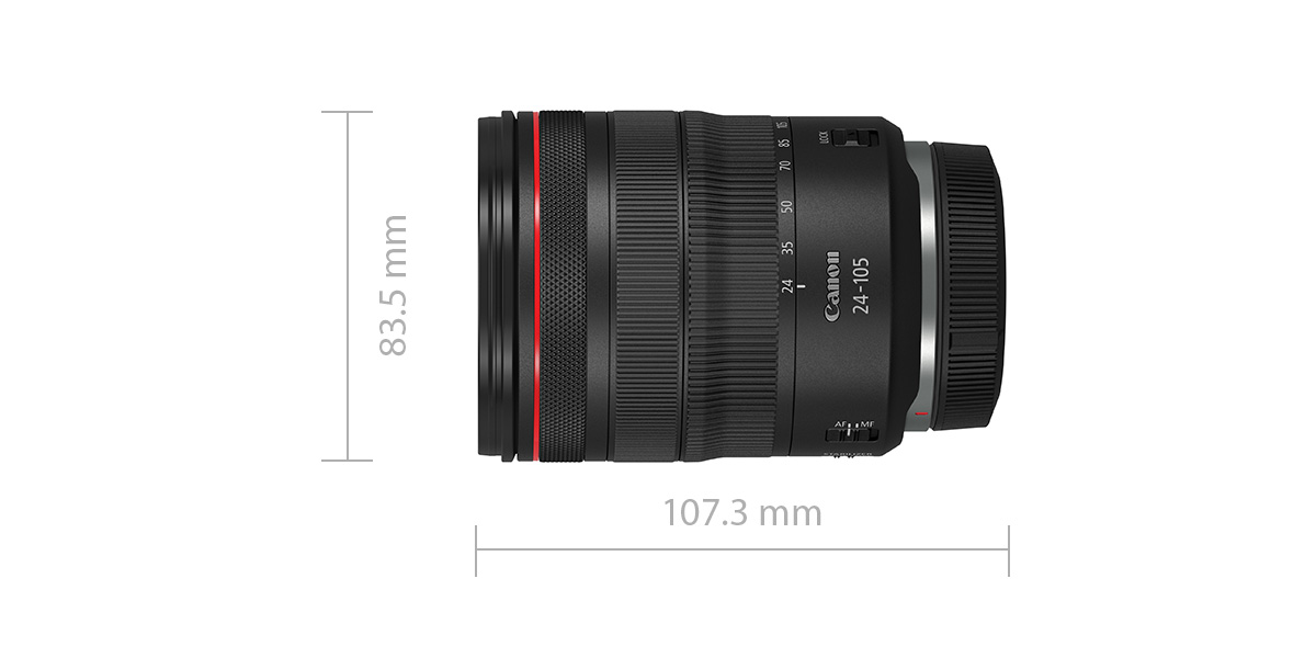 RF 24-105mm f/4L IS USM width and height specifications