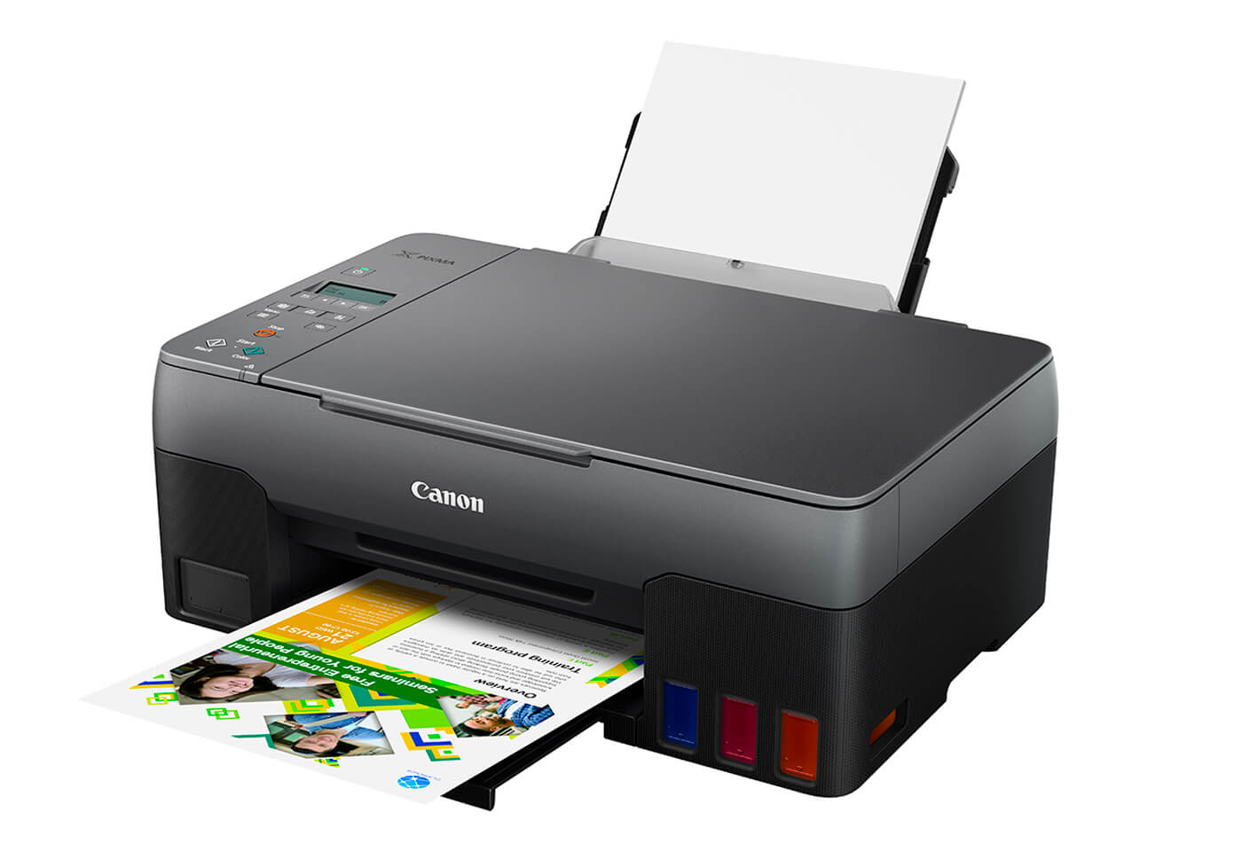 Side profile image of PIXMA G3620 MegaTank printer with tray open