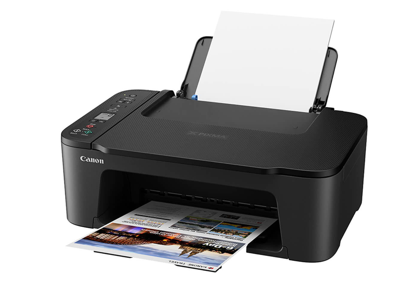 Side profile image of PIXMA HOME TS3460 printer with tray open