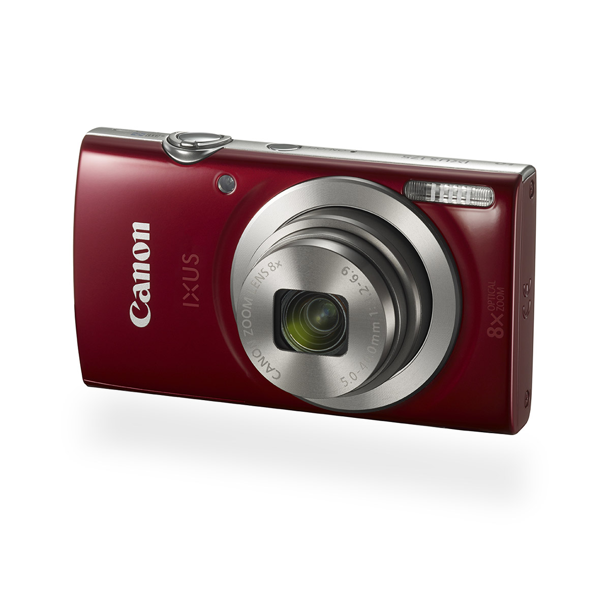 Canon IXUS 175 digital compact camera red front angled