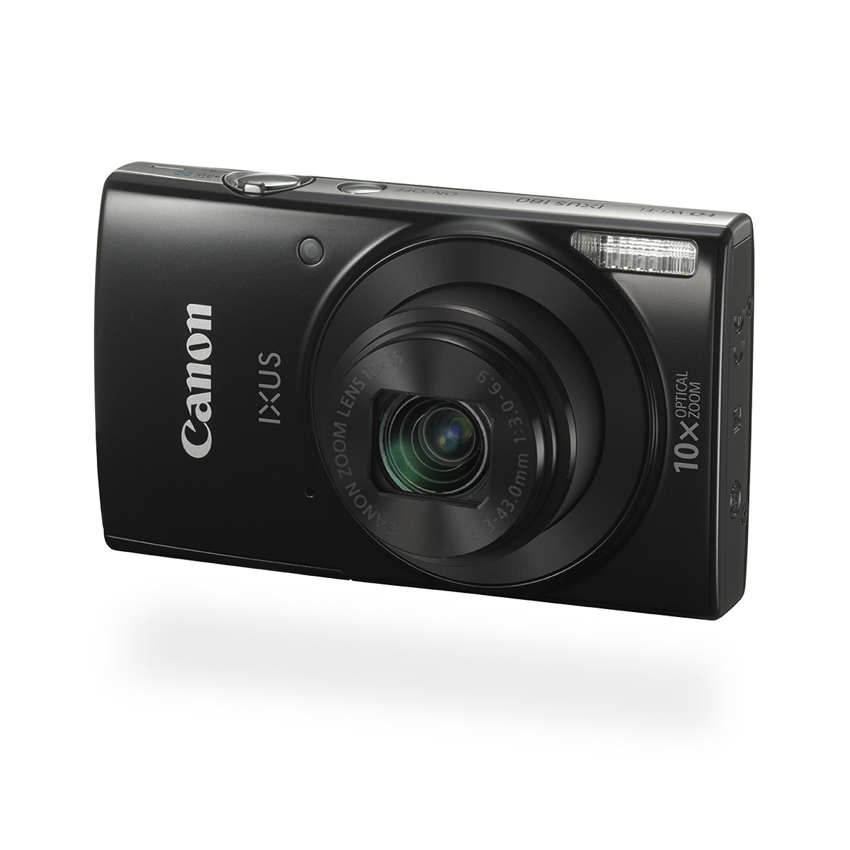 Canon IXUS 180 digital compact camera black front angled
