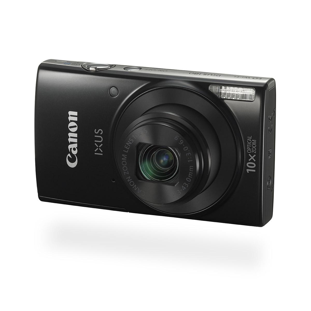 Canon IXUS 180 digital compact camera black front angled