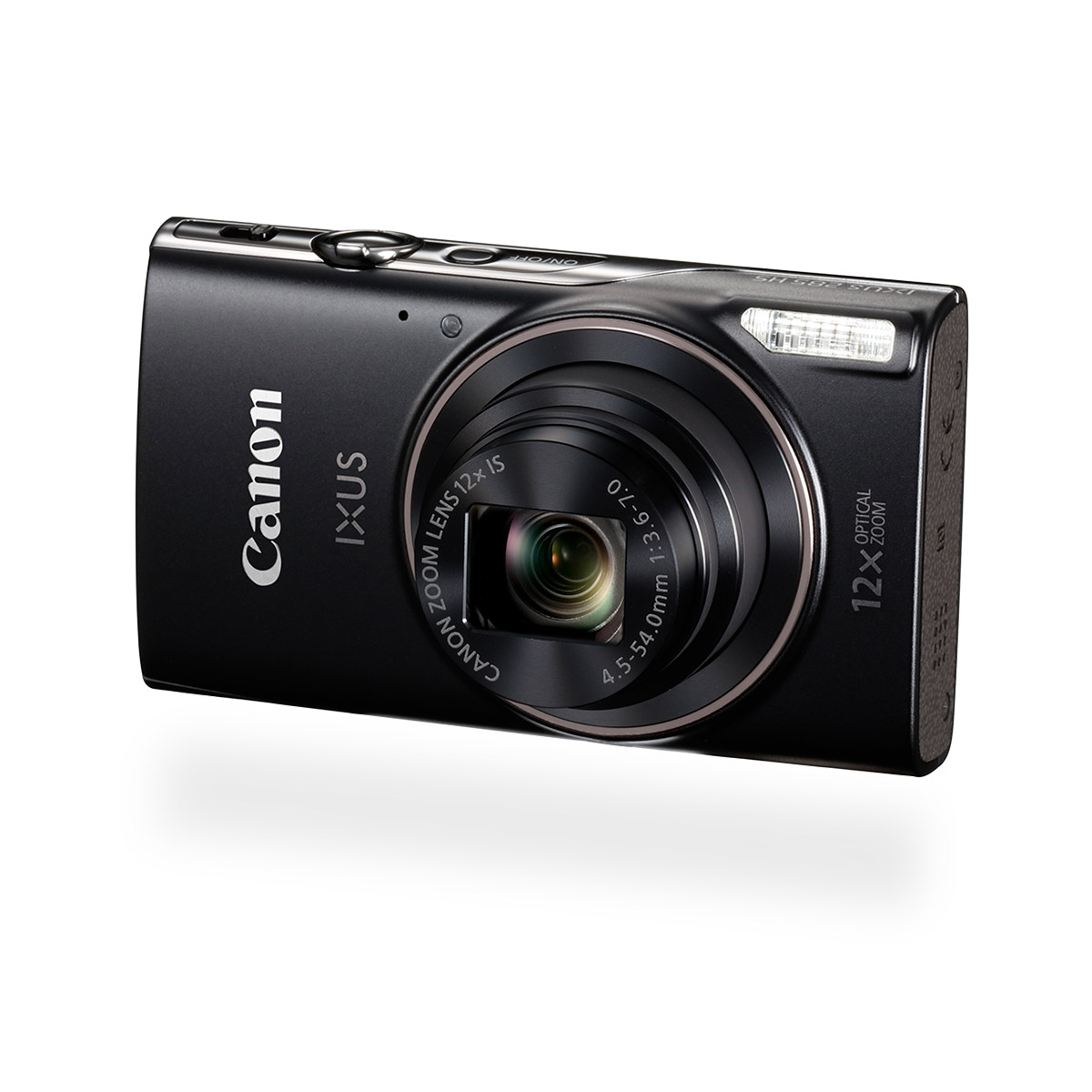 Canon IXUS 285 HS digital compact camera black front angled