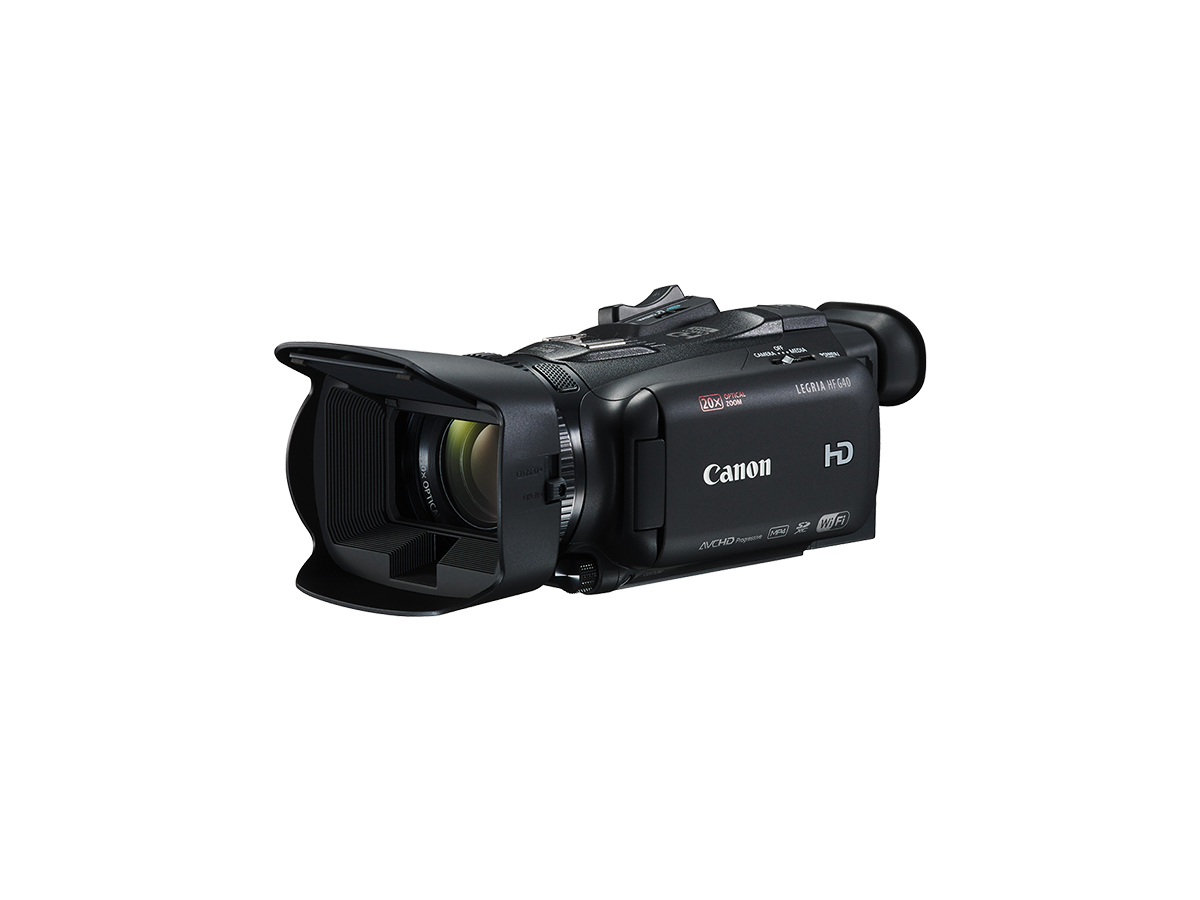 Canon LEGRIA HF G40 digital video camera black front angled with flip screen