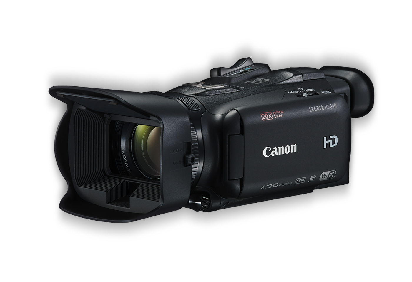 Canon LEGRIA HF G40 digital video camera black front angled