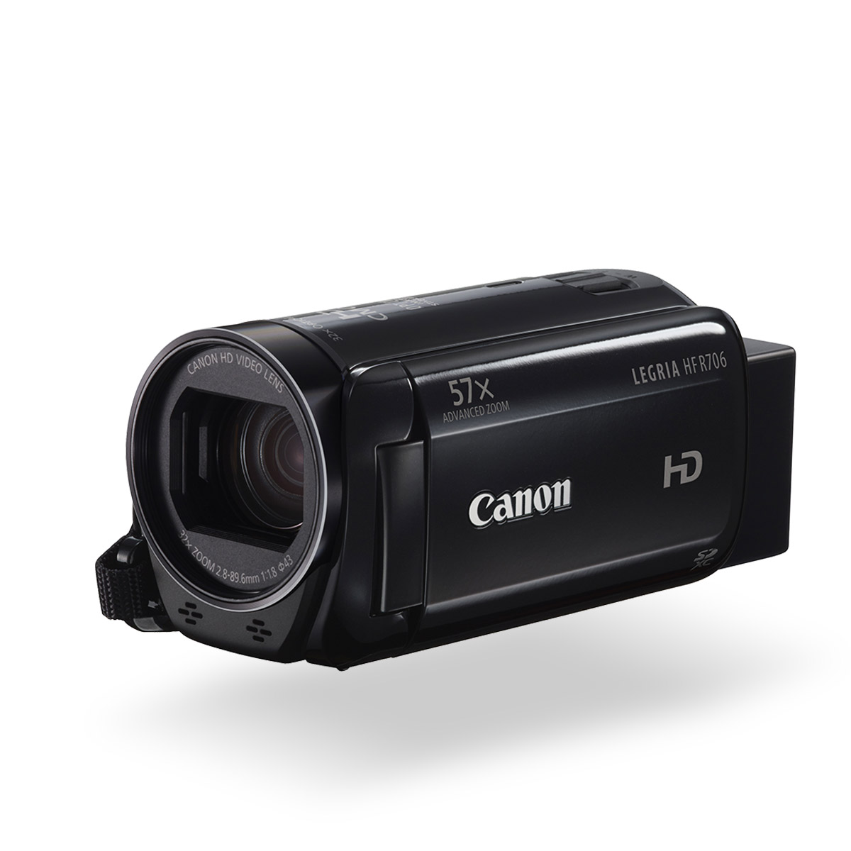 Canon LEGRIA HF R706 digital video camera black front angled with screen out