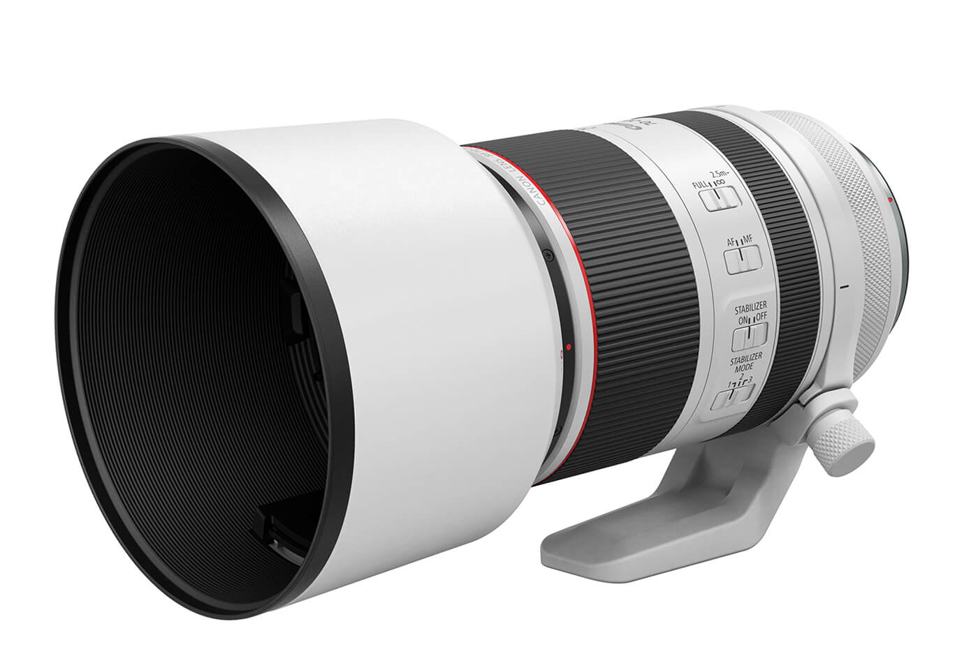 Product image of RF 70-200mm f2.8 L IS USM telephoto lens with hood