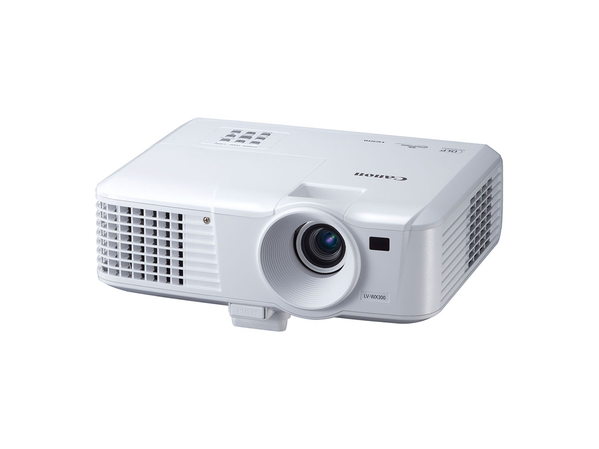 Canon white LV-WX300 projector front
