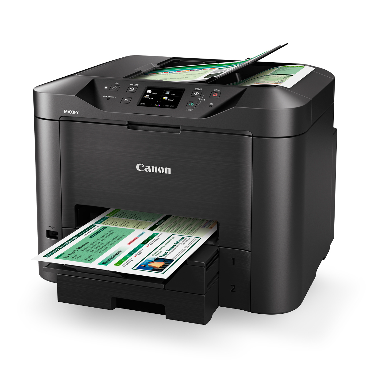 MAXIFY MB5360 black angled with paper office professional printer