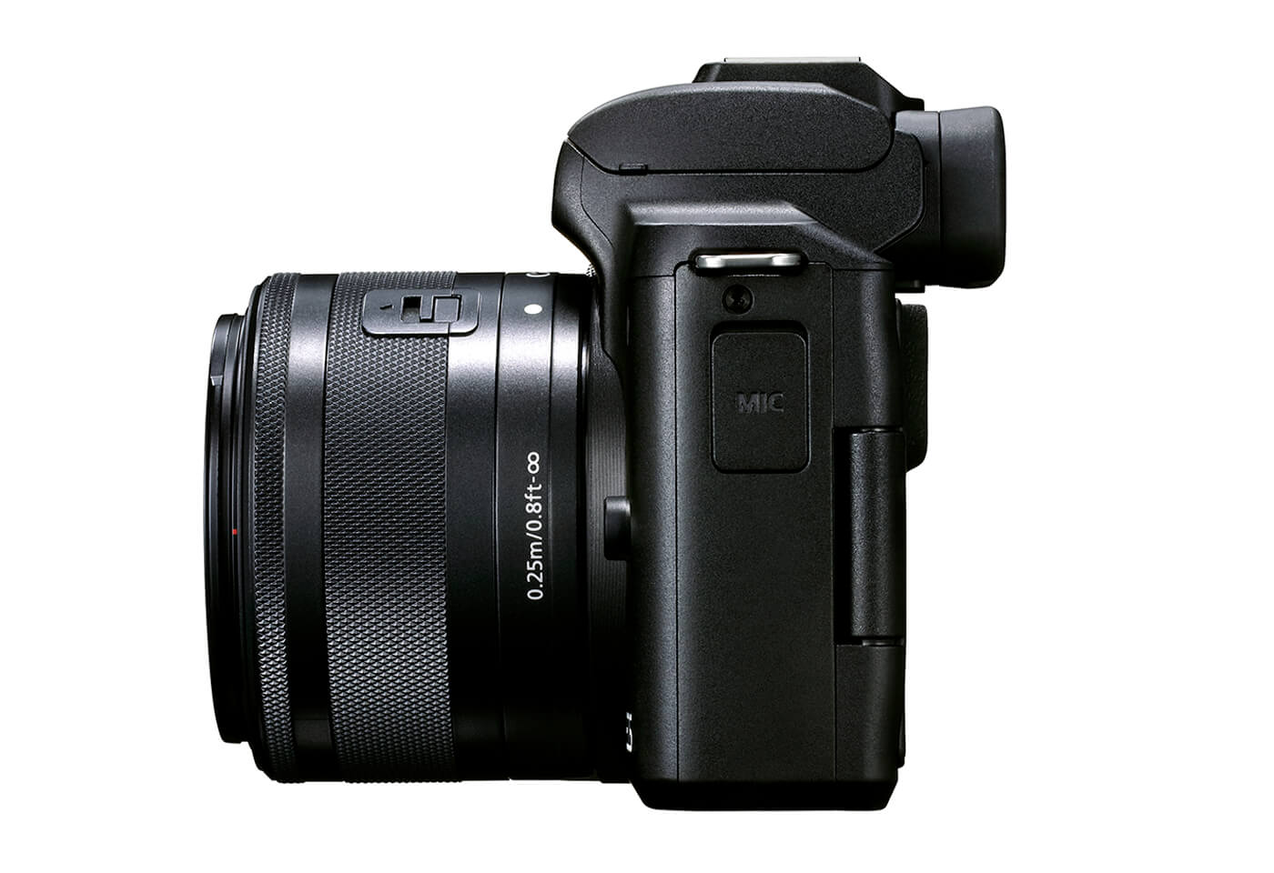 Side profile image of the EOS M50 Mark II mirrorless camera