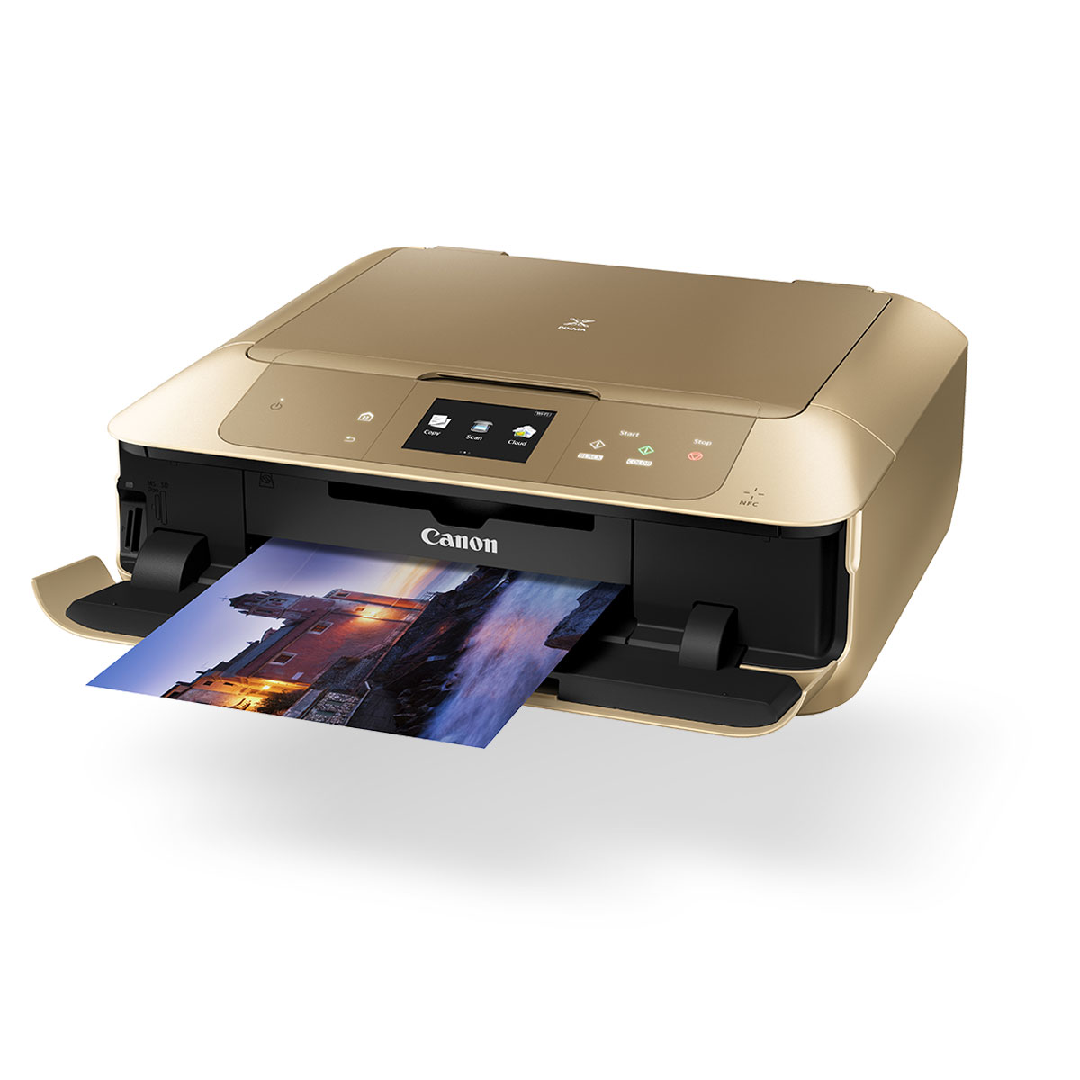 Gold PIXMA printer with print