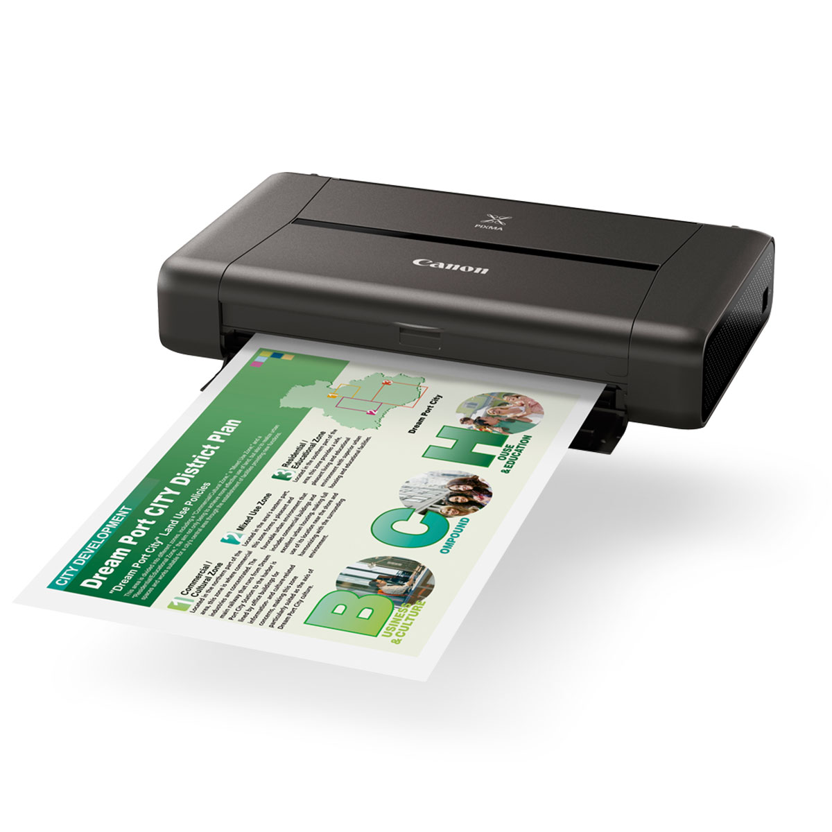 IP110 black angled with paper office advanced printer