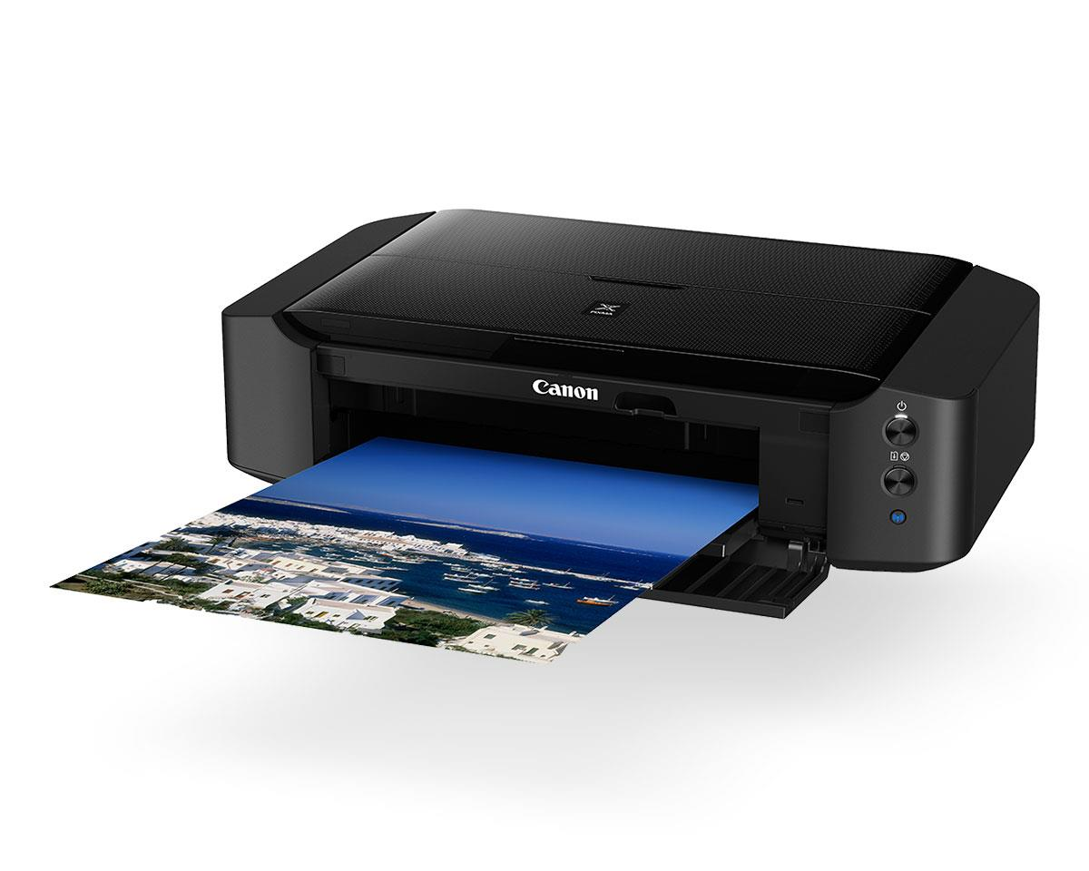 black PIXMA printer with paper coming out