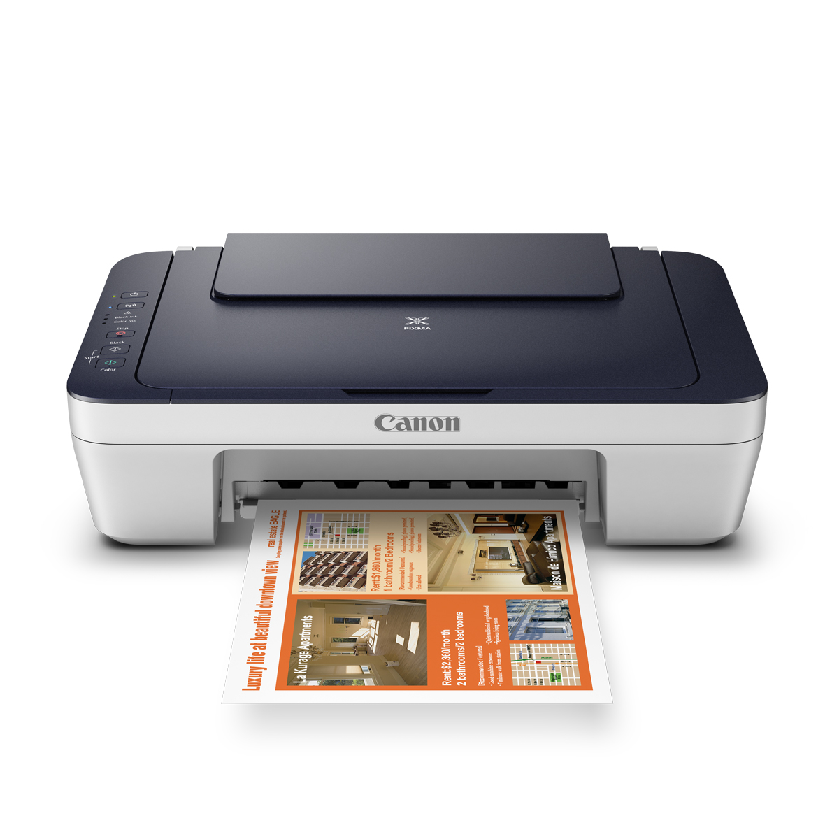 Canon PIXMA MG2965 Inkjet All-in-One printer white with blue lid front open