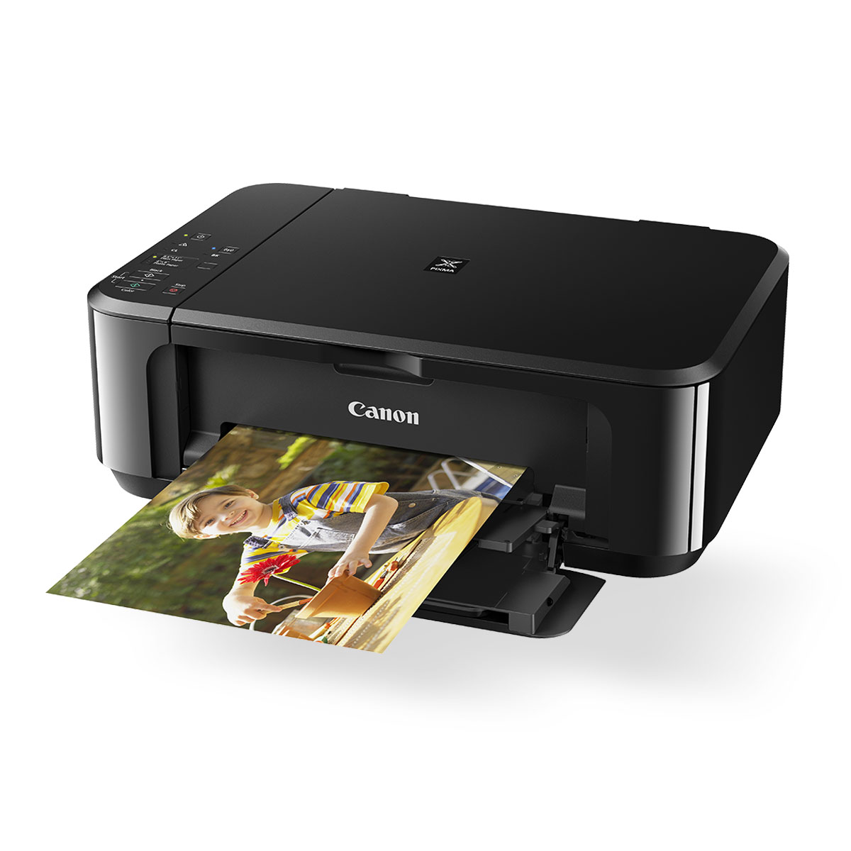 Canon PIXMA MG3660 black front angled open with print out