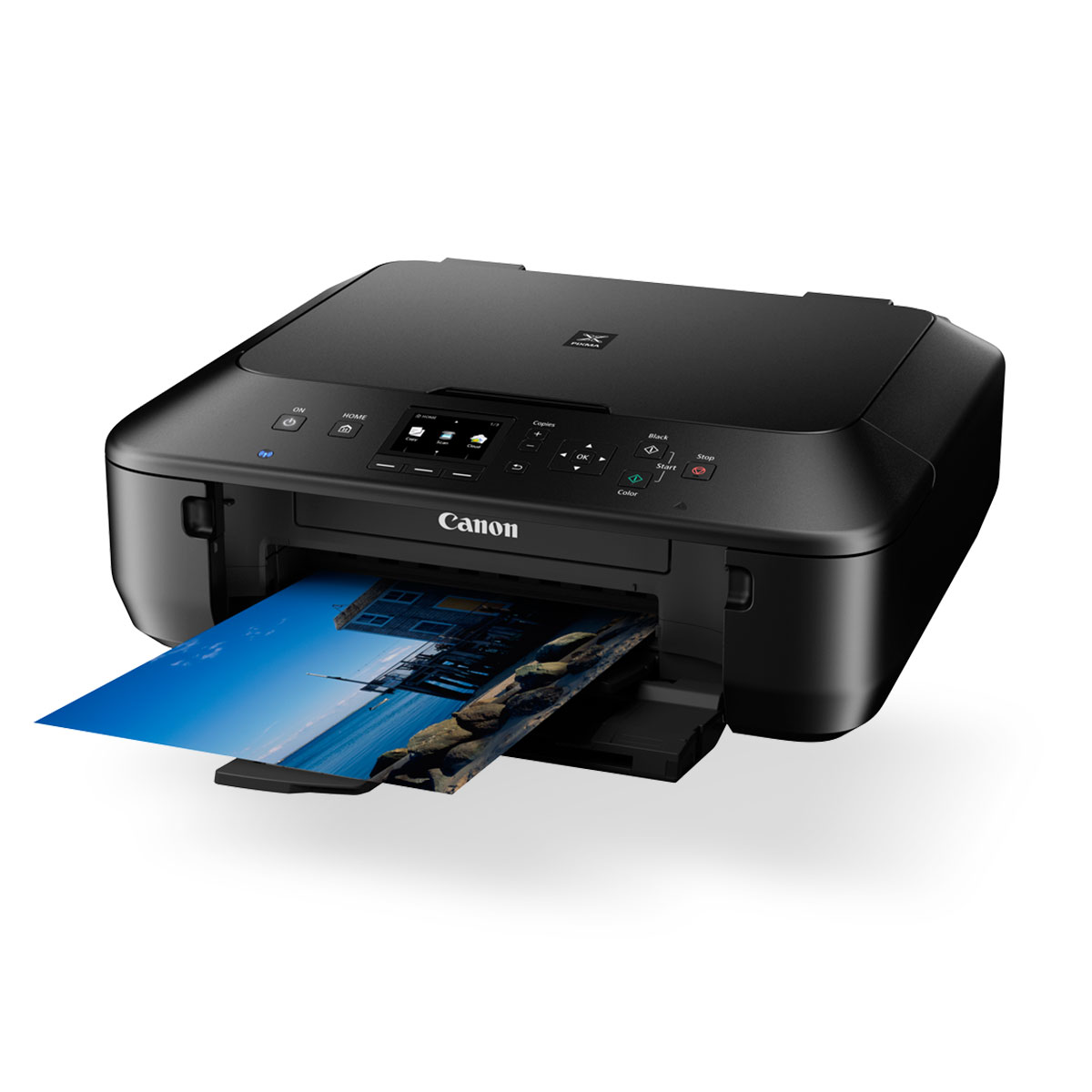 Canon PIXMA MG5660 black printed paper front angled