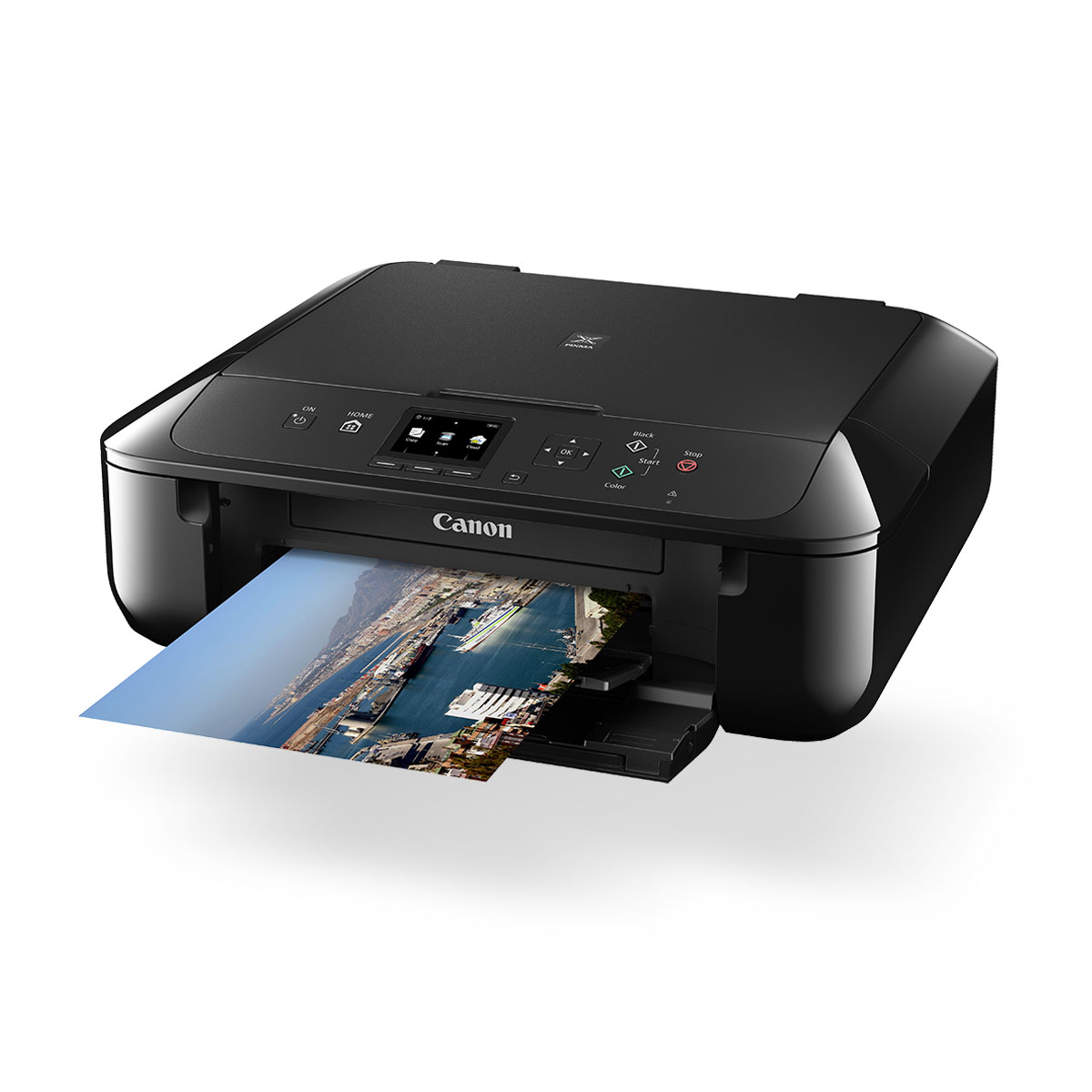 Canon PIXMA MG5760 Inkjet All-in-One printer black front angled with paper