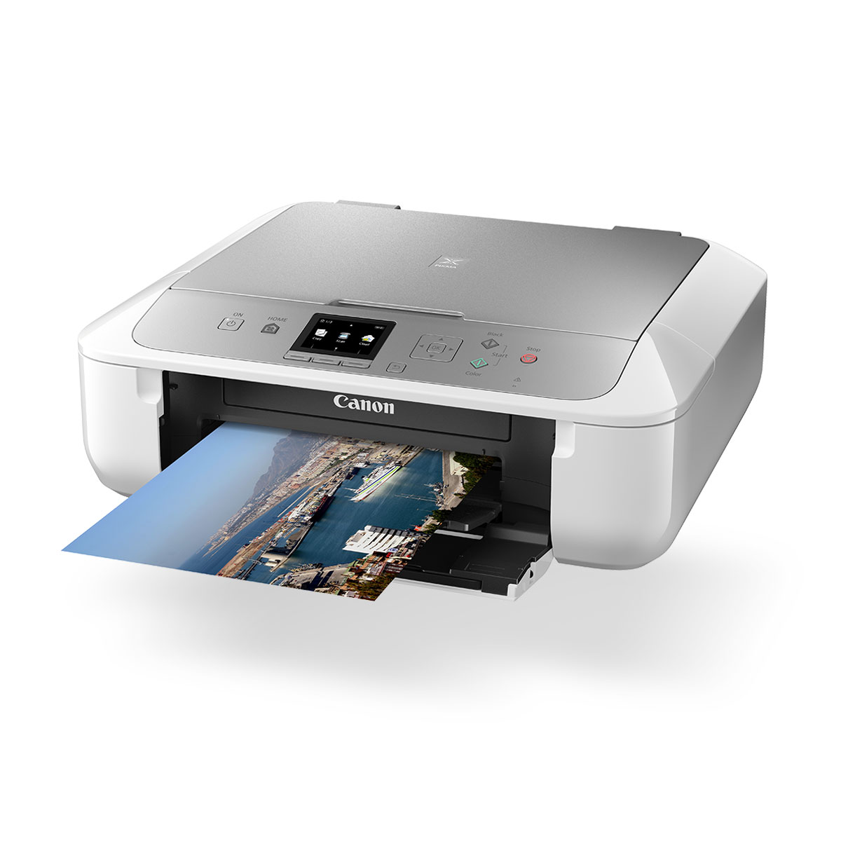 Canon PIXMA MG5765 Inkjet All-in-One printer white and silver front angled with paper