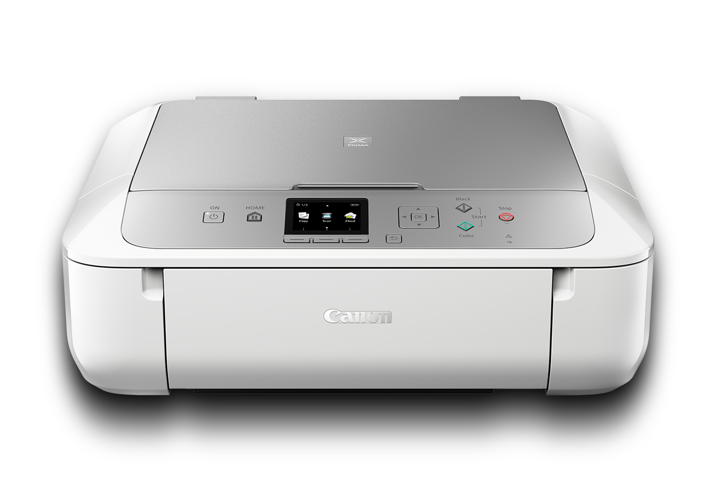 Canon PIXMA MG5765 Inkjet All-in-One printer white and silver front