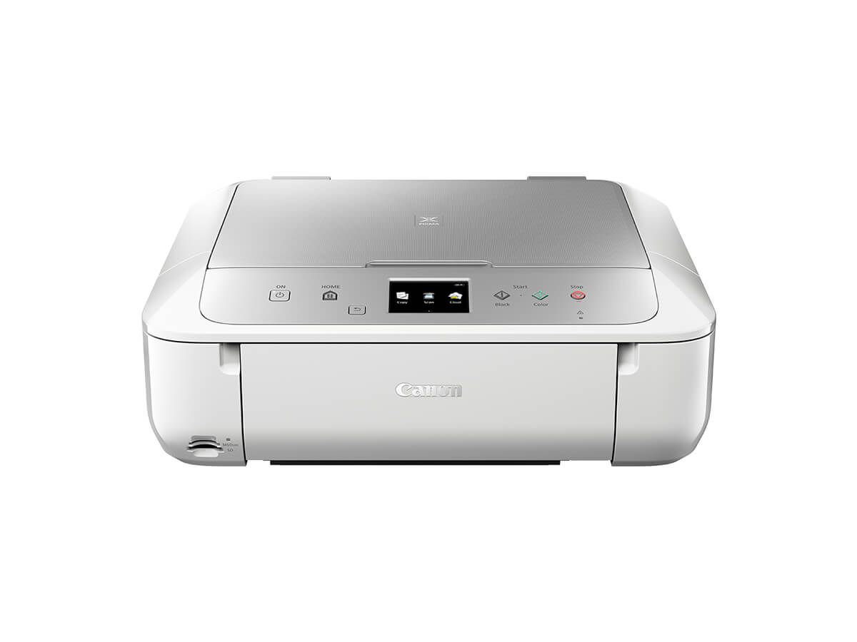 Canon PIXMA MG6865 Inkjet All-in-One printer white silver front