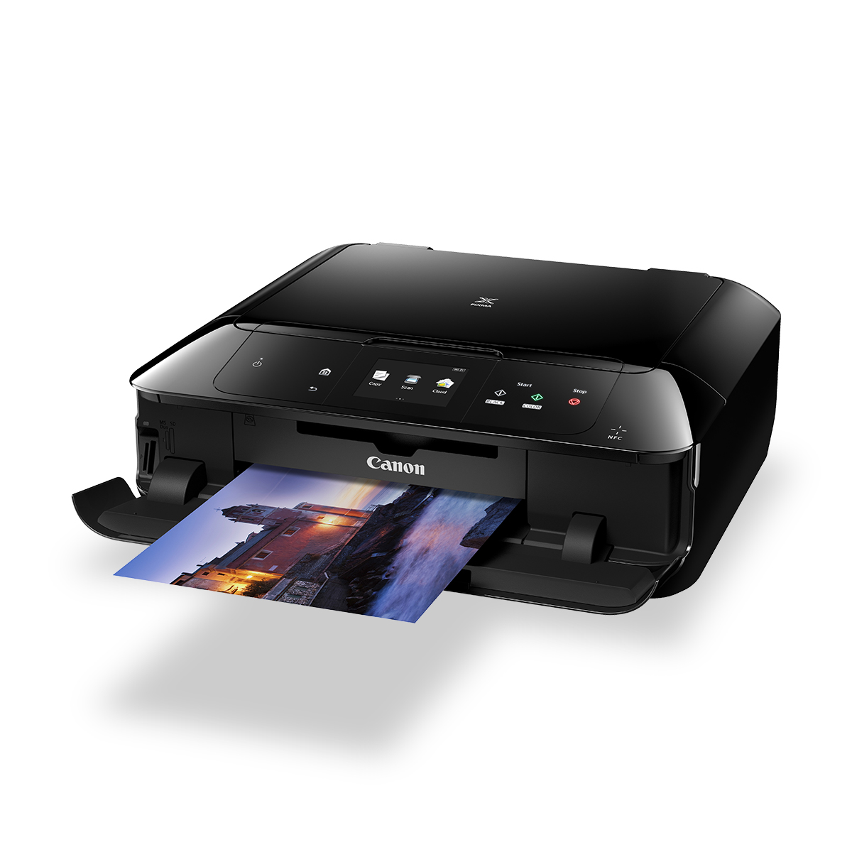 pixma mg7760 black front angled with paper coming out