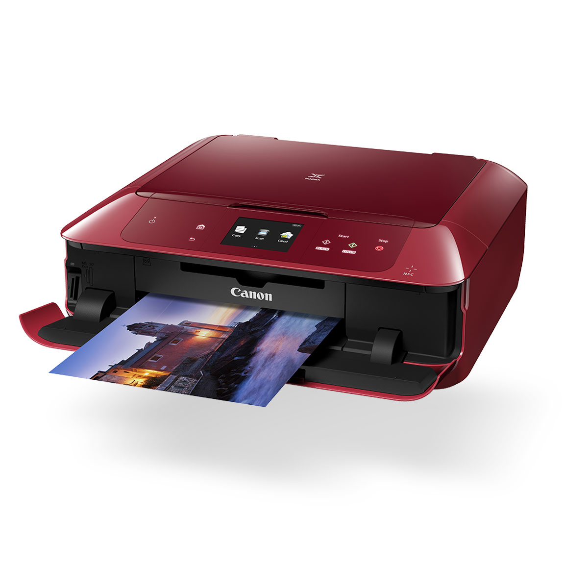 pixma mg7765 red front angled with paper coming out