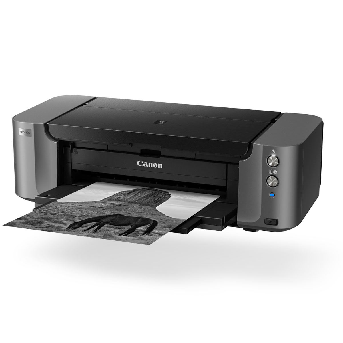 pixma pro 10 black front angled with paper coming out