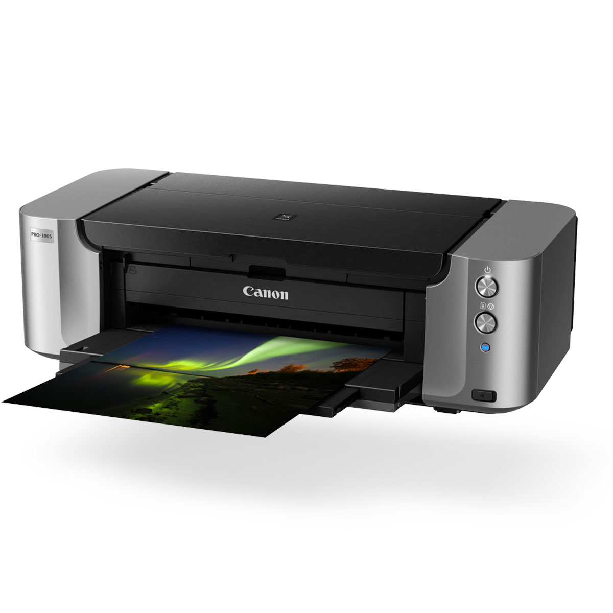 PIXMA PRO-100S black front angled with paper