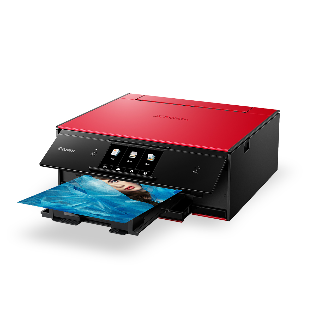 PIXMA TS9060 red front angled with shadow