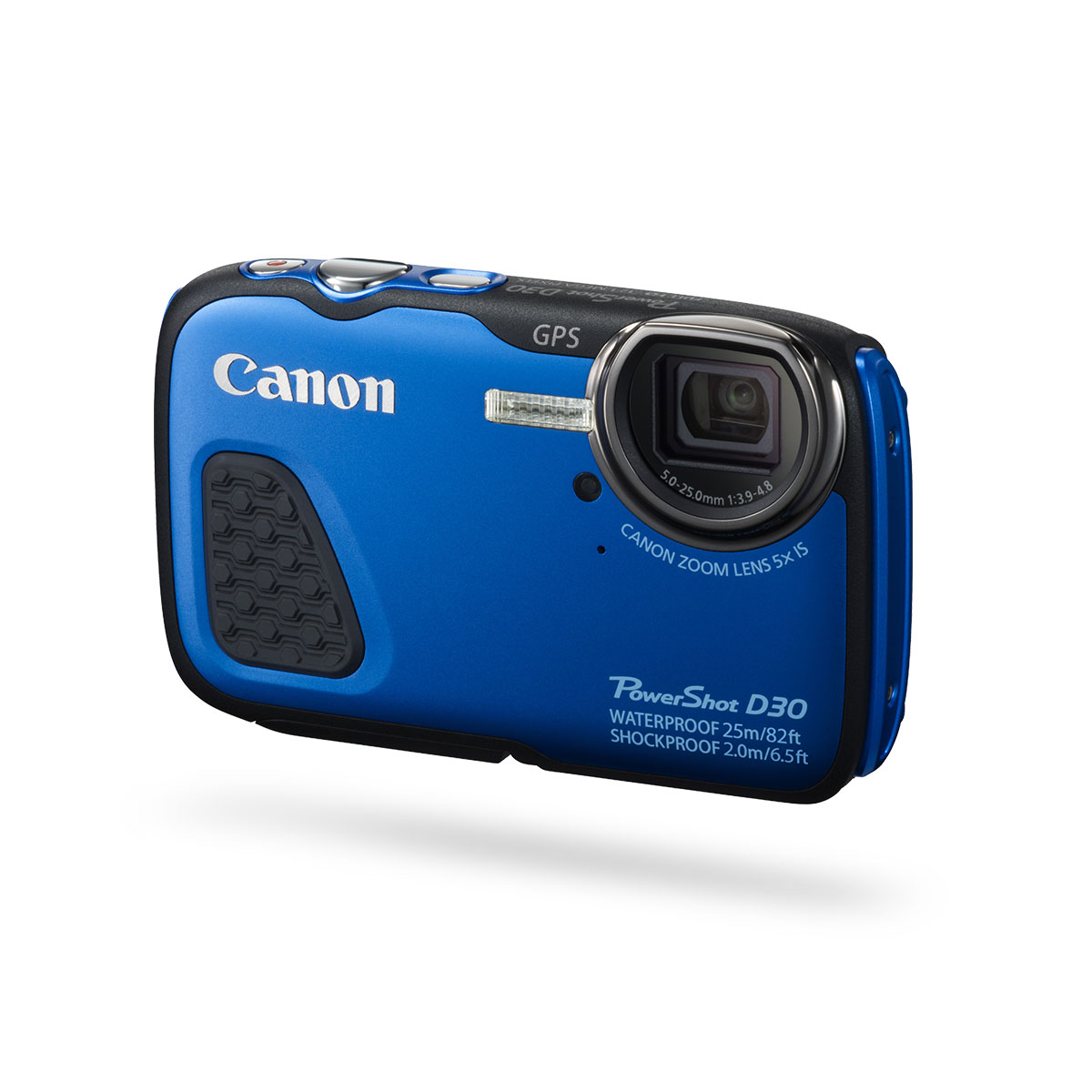 Canon PowerShot D30 digital camera Front View on Angle