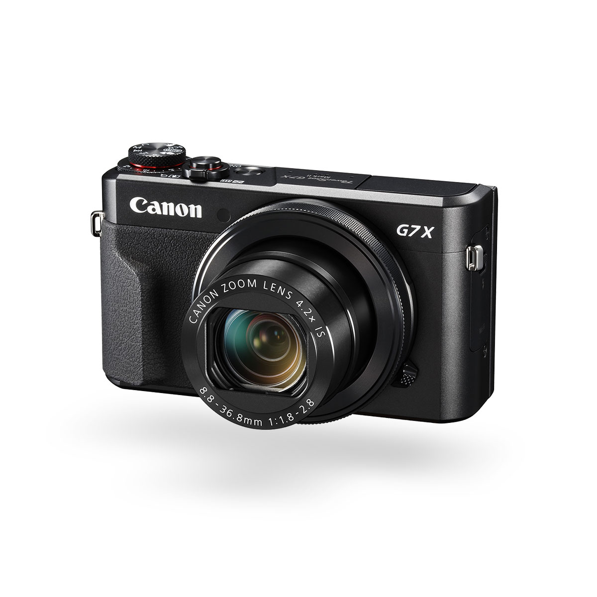 PowerShot G7X Mark II compact camera black front angled