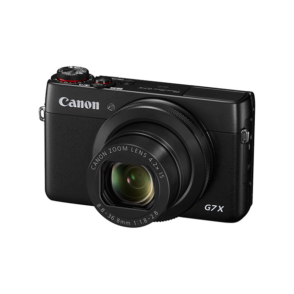 Angled front view of the Canon PowerShot G7X high performance digital camera