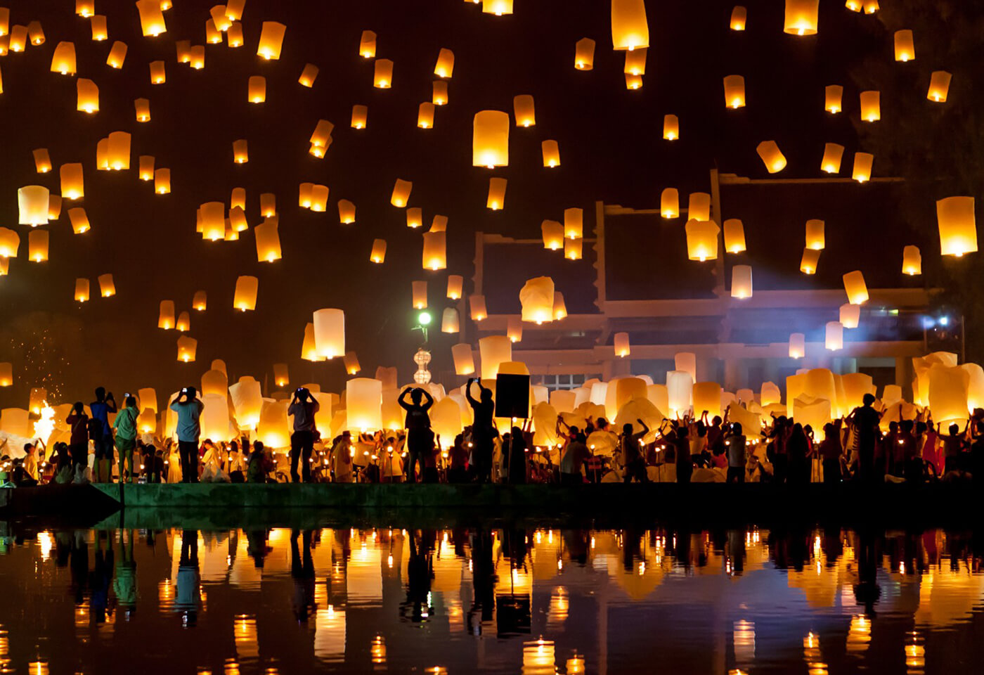 Image of lanterns being let into the night