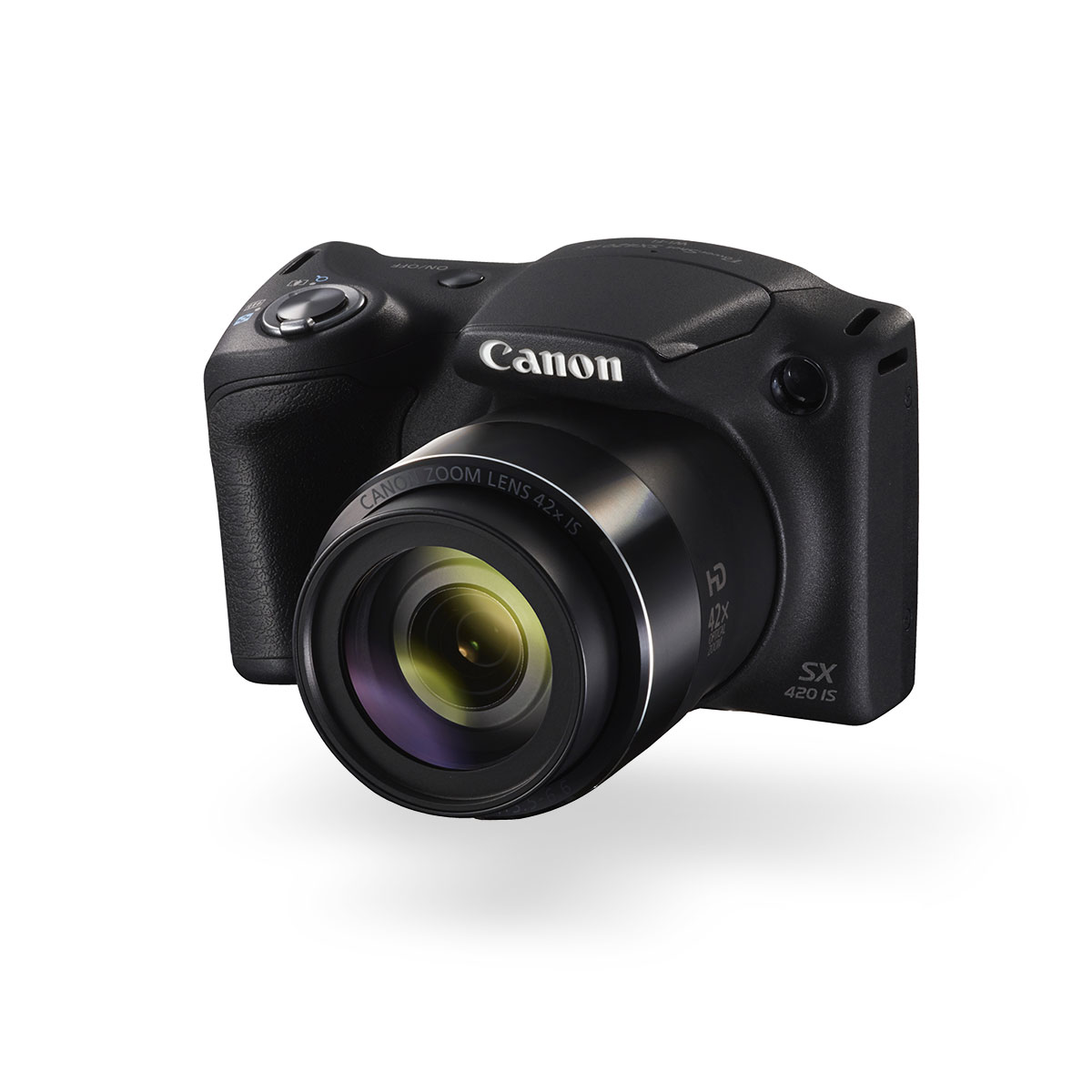 Canon PowerShot SX420 IS digital compact camera black front angled