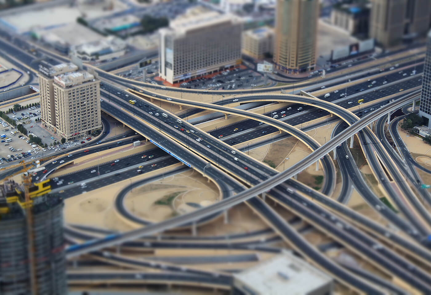 Image of city using tilt shift feature