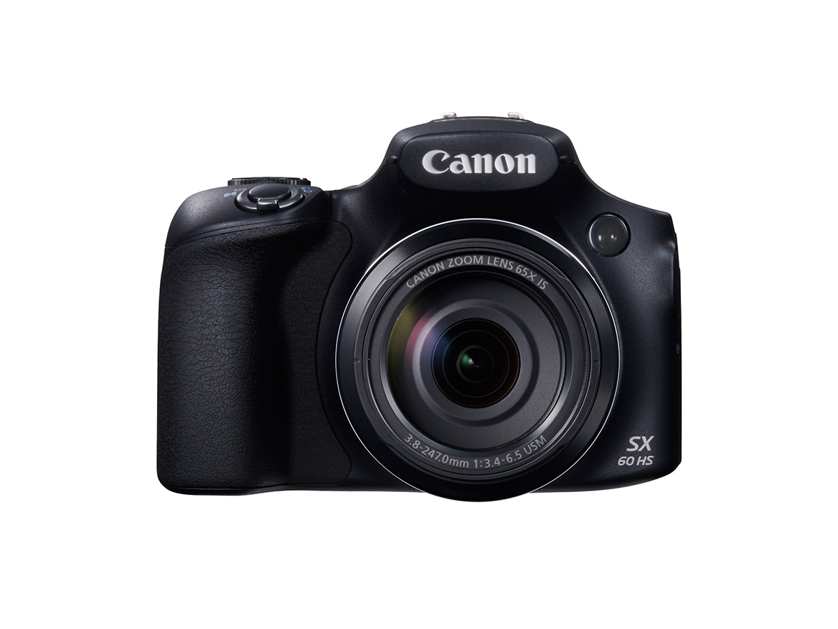Front view of the Canon PowerShot SX60 HS super zoom digital camera