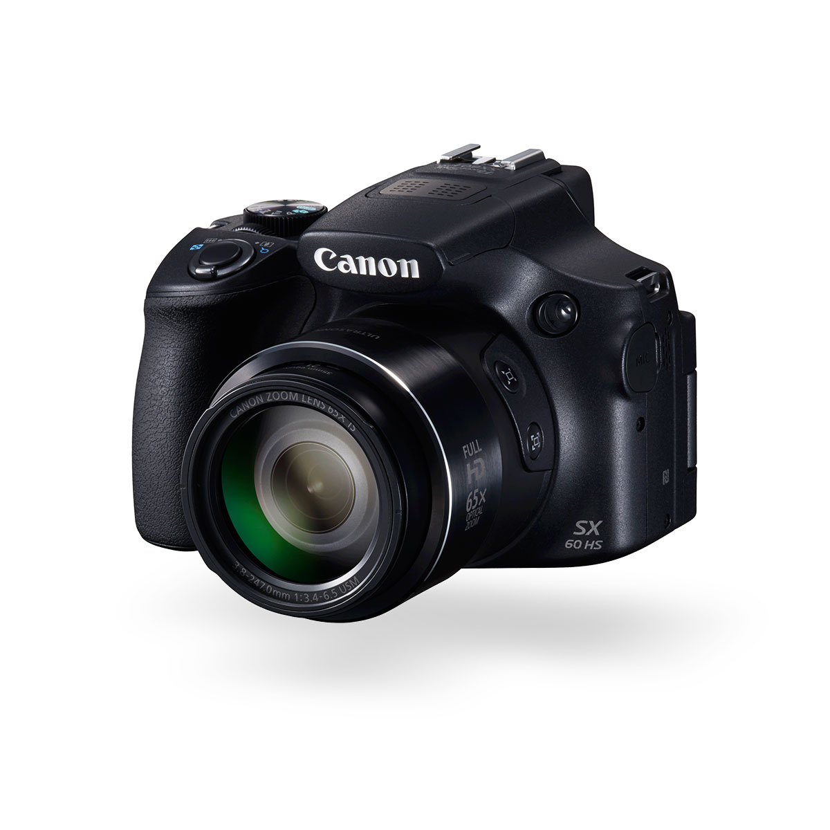 Front angled view of the Canon PowerShot SX60 HS super zoom digital camera