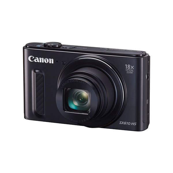 PowerShot SX610 HS black front angled
