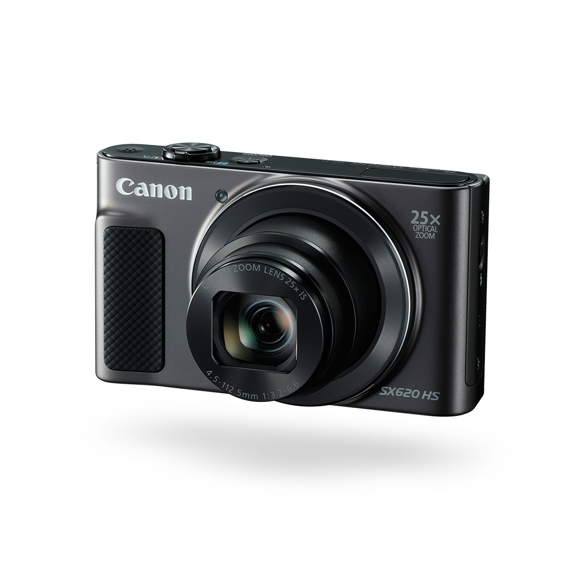 Canon PowerShot SX620 HS black compact camera front angled