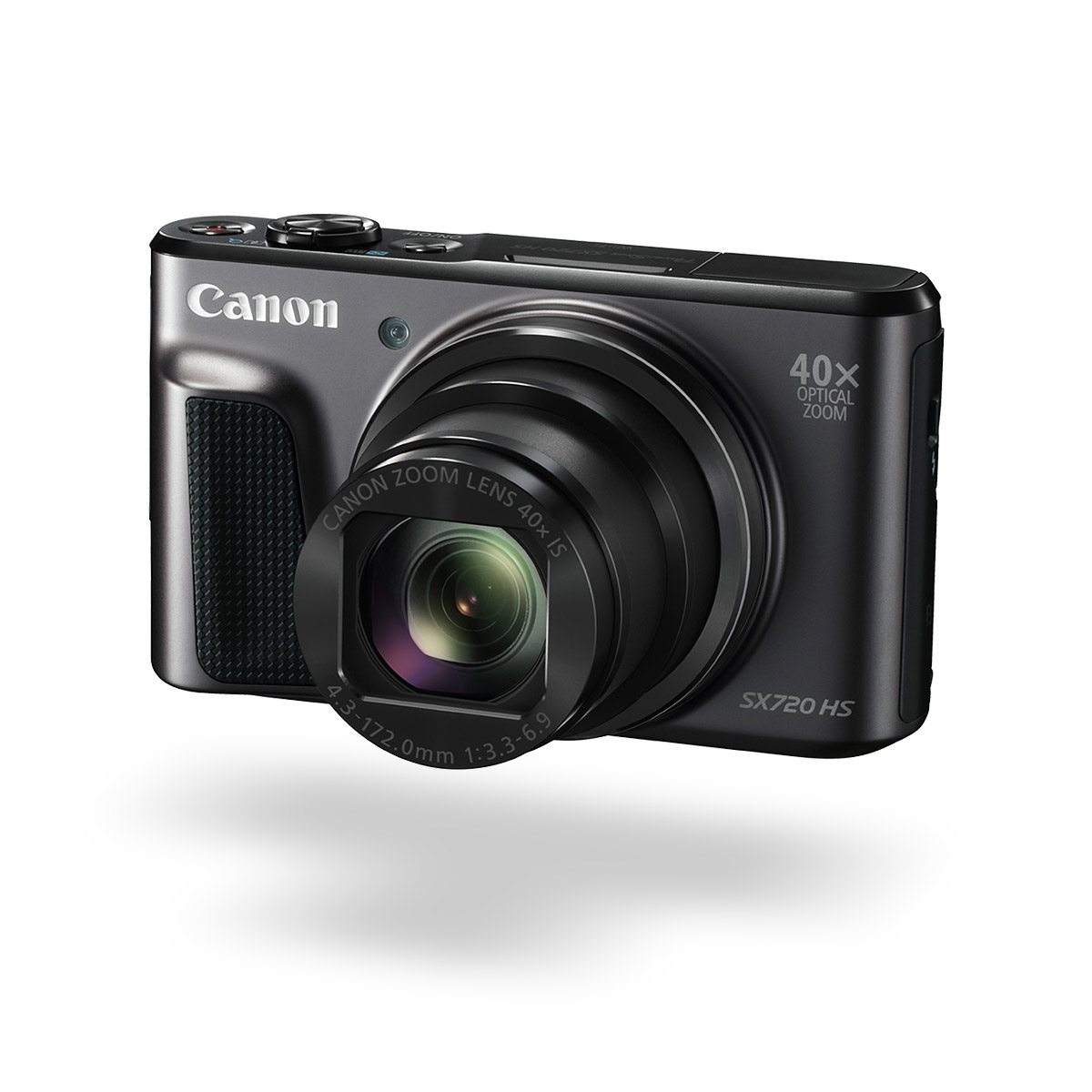 PowerShot SX720 HS compact camera black front angled
