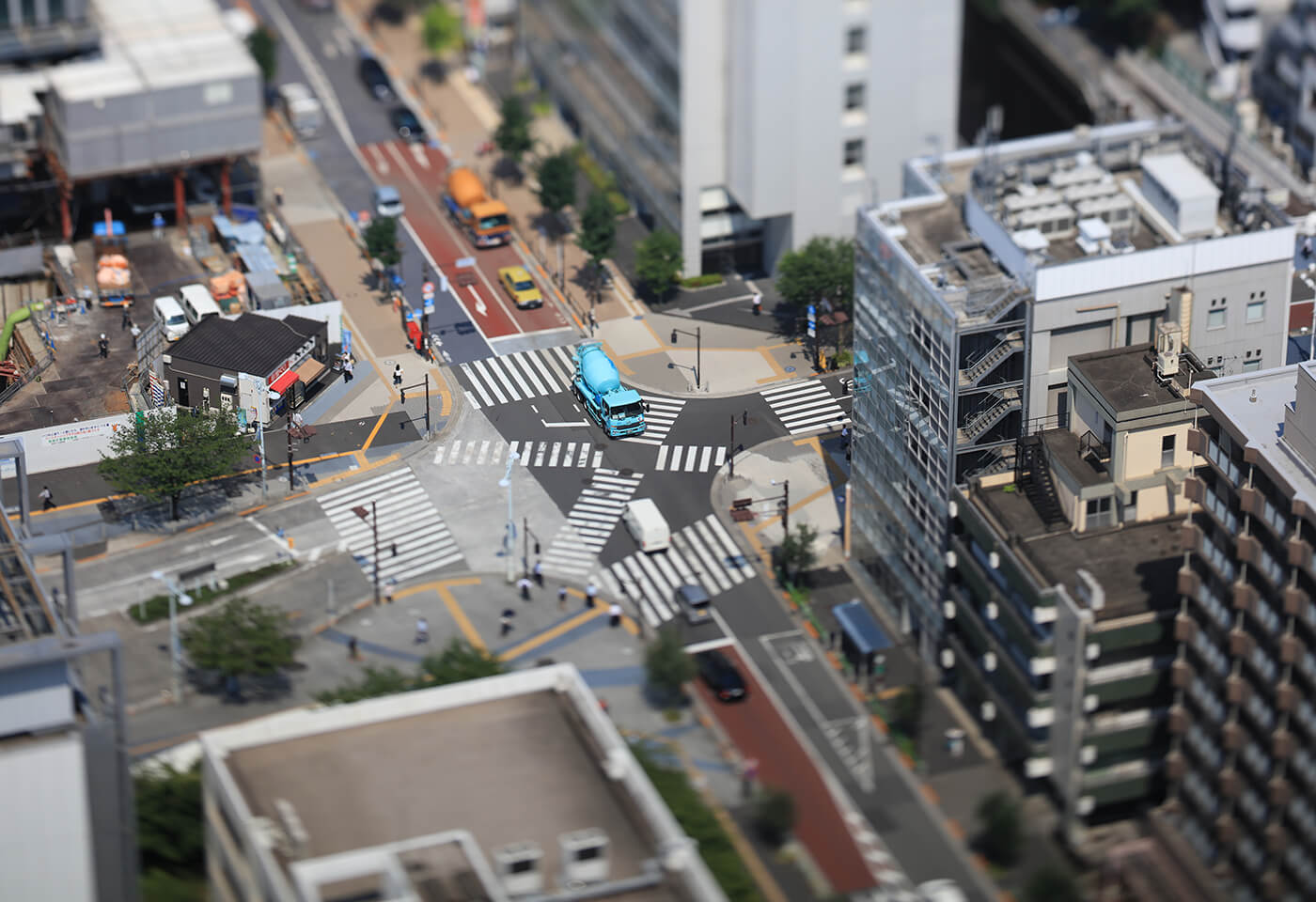 Tilt shift image of road crossing