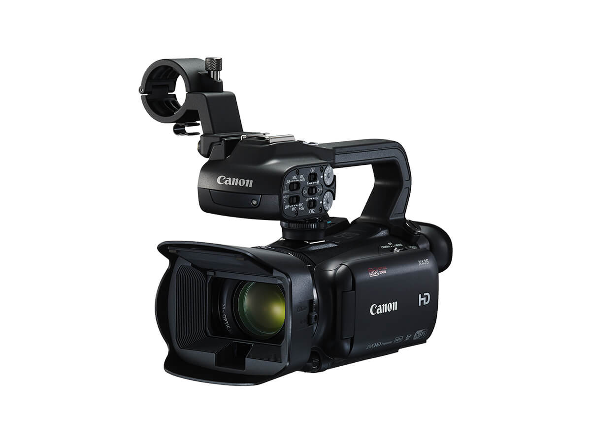 Canon XA35 Digital Video Camera black front angled