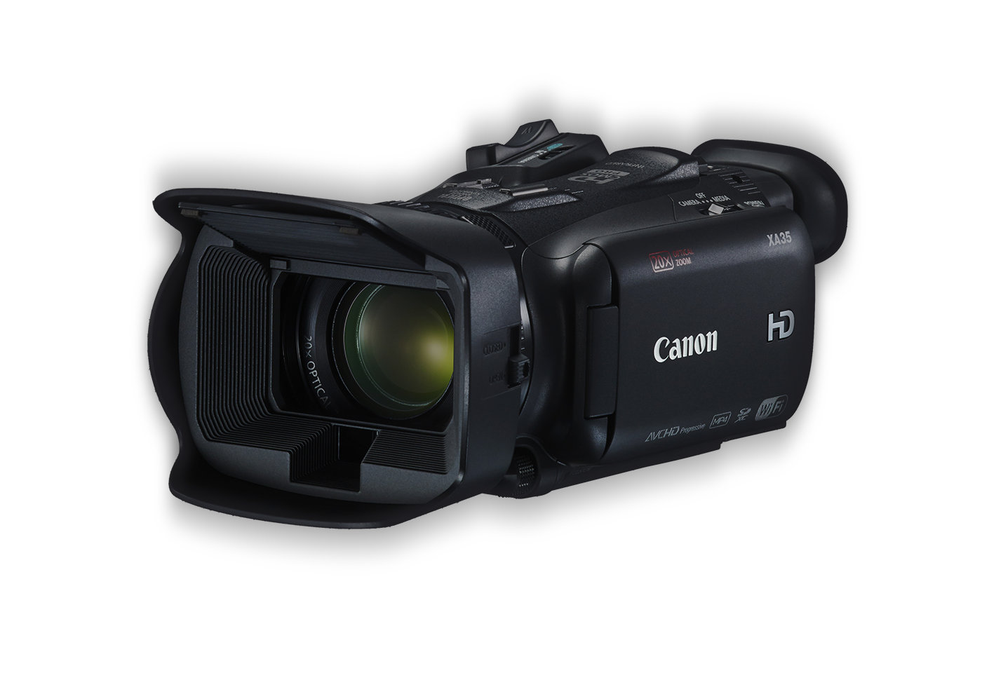 Canon XA35 Digital Video Camera black front angled with handle