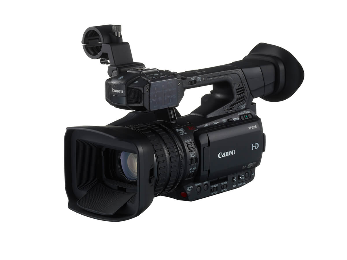 Canon XF205 Digital Video Camera - Right Side View with LCD Screen