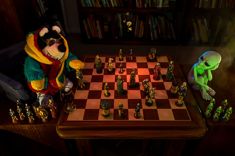 Image of toys playing chess
