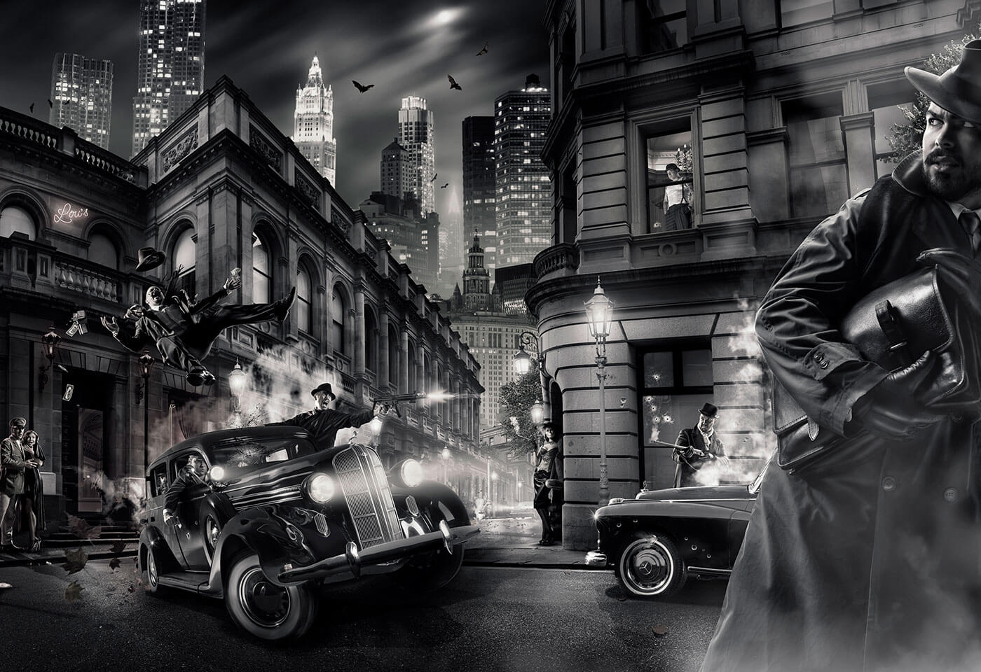 B&W composite image of bank heist by Damien Bredberg
