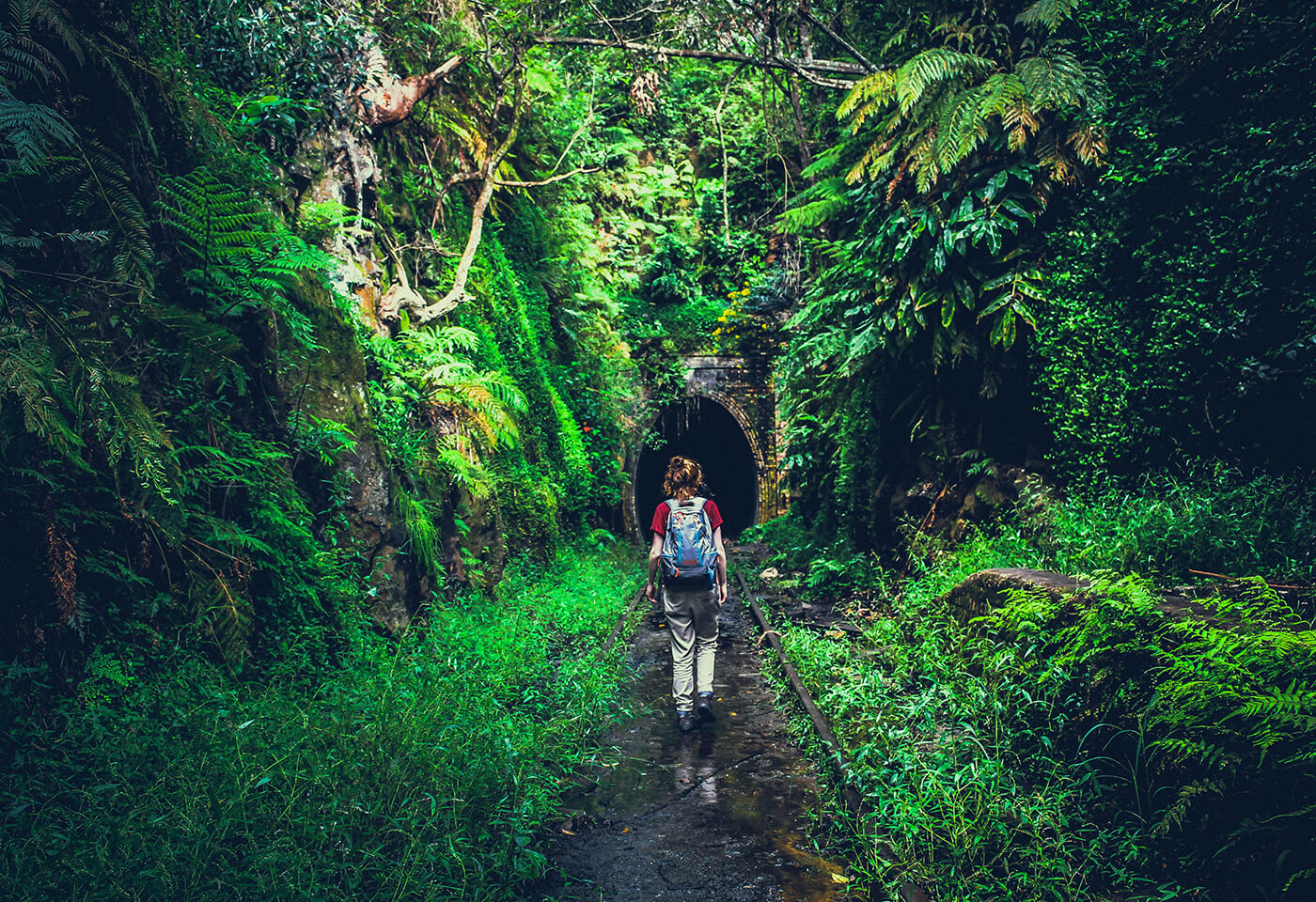 Image if backpacker hiking through mystery destination