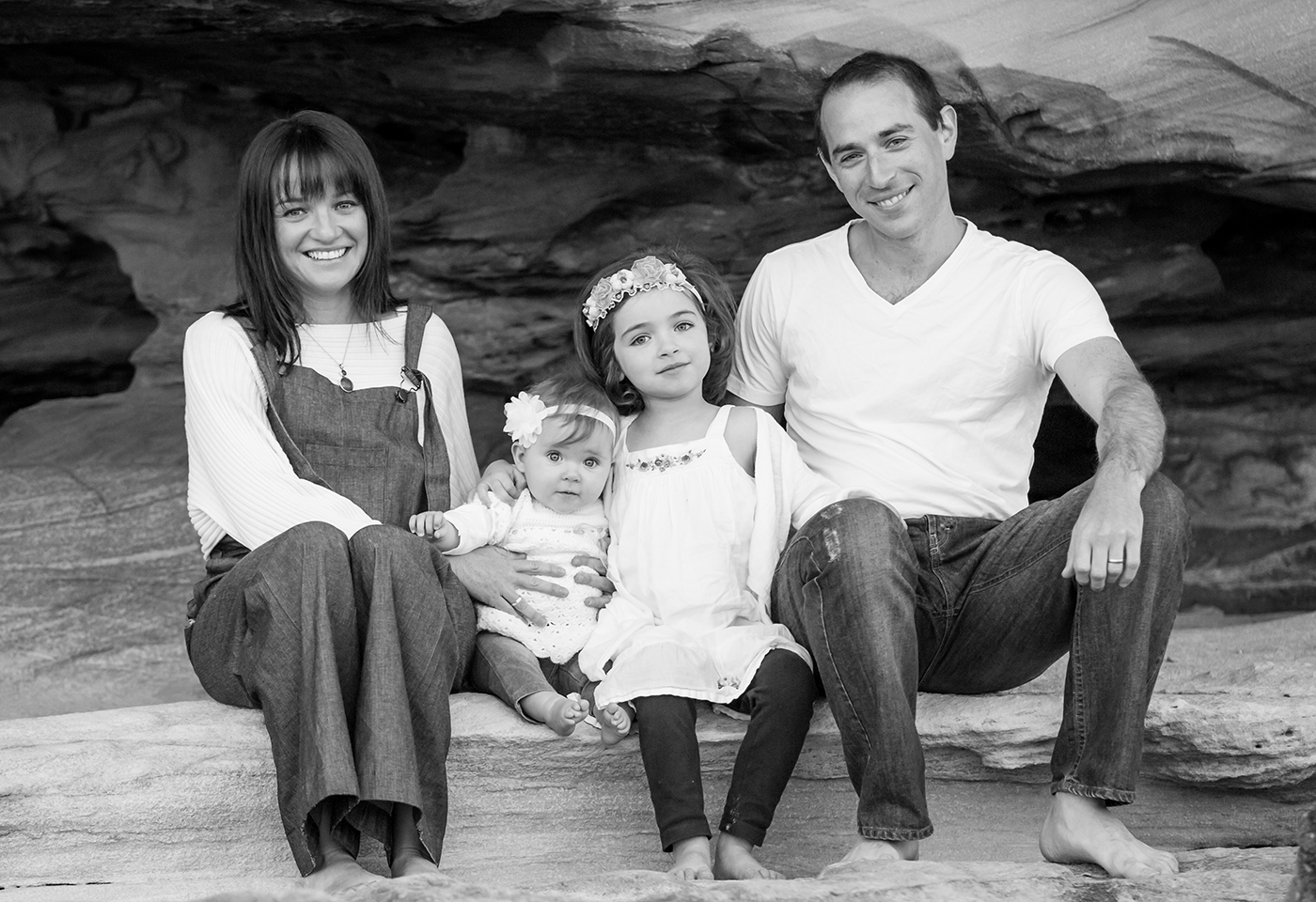 Black and white family portrait image