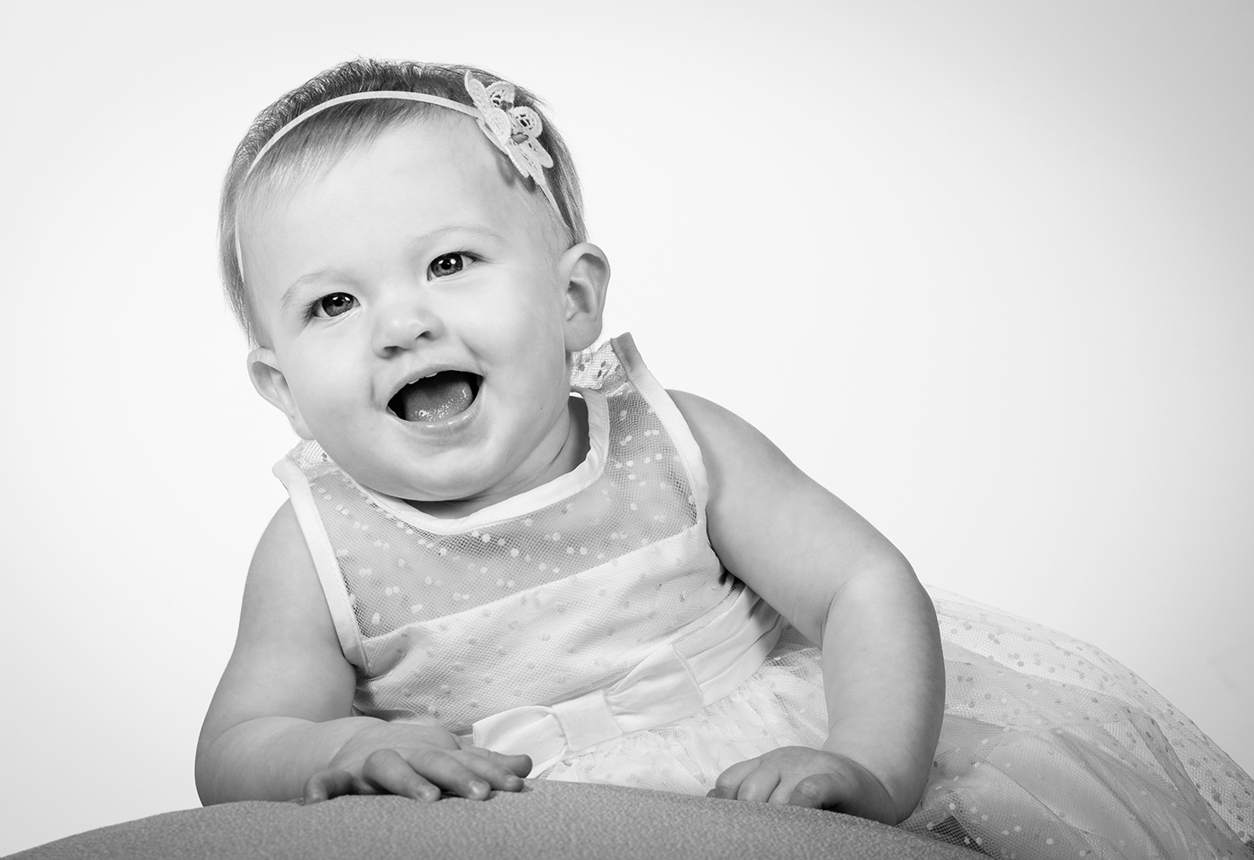 black and white baby portrait image